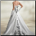 Dramatic Embroidered Black on White Satin Bridal Gown showing back of this lovely gown