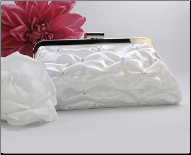 Satin Crystal Gathered Bridal Evening Bag