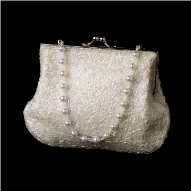 White Beaded Satin Evening Bag