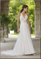 Chiffon Halter Neckline A-Line Casual Wedding Dress