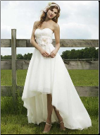 Affordable Informal High Low Princess Style Bridal Gown