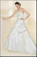 Elegant Gathered Satin and Lace Wedding Gown
