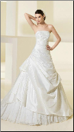 Elegant Gathered Taffeta and Organza Wedding Gown