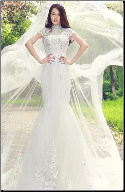 Elegant Mandarin Collar Bridal Gown of Embroidered Lace and Satin