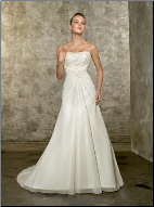 Elegant Strapless Chiffon over Satin Wedding Gown