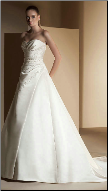 Elegant Strapless Satin Wedding Gown