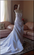 Elegant da Vinci Satin Asymmetrical Bridal Gown in stock size 18