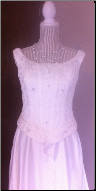 Embroidered Ivory Satin Gown with Long Train for rent - size 14
