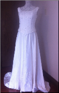 Embroidered Ivory Satin Gown with Long Train in stock size 14
