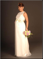Embroidered Organza Maternity Bridal Gown