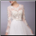 Embroidered Organza Wedding Dress with Long Sleeves - with lined bodice for modest option