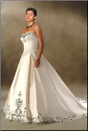 Embroidered Princess Satin Wedding Gown