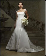 Embroidered Satin Wedding Dress