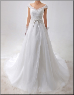 Embroidered Satin and Organza Wedding Gown