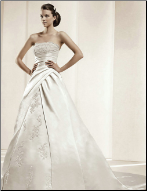 Embroidered Satin with Lace Bridal Gown