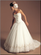 Embroidered Strapless Satin Wedding Dress