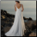 Empire Line Beach Wedding Gown - back view showing train and elegant back detail