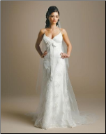 Empire Line Satin and Tulle Wedding Dress