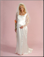 Formal Satin and Lace Maternity Wedding Dress