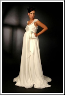 Glamorous Chiffon Maternity Wedding Dress with Cap Sleeves