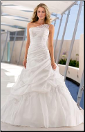 Satin One-Shoulder Illusion Wedding Gown