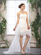 Glamorous Strapless High-Low Organza Wedding Dress