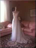 Chiffon over Satin Wedding Gown with Lace Shoulder Straps for rent - size 10