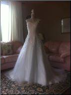 Gorgeous Chiffon over Satin Bridal Gown with Shoulder Straps in stock size 10