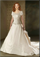 Graceful Embroidered Satin Wedding Gown