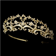 Katherine of Yugoslavia Gold and Pearl Floral Tiara