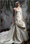Haute Couture Satin Sweetheart Neckline Gown