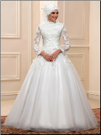 High Neck Long Sleeve Tulle Muslim Ballgown with Appliques