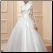 High Neck Long Sleeve Tulle Ballgown with Appliques - side of wedding dress