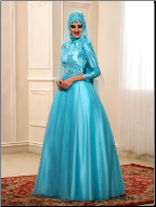 High Neckline Beautiful Satin and Tulle Embroidered Muslim Wedding Gown with Hijab