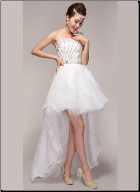High-Low One-Shoulder Organza Wedding Dress