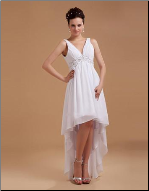 Inexpensive V-Neck Chiffon High-Low Wedding Dress