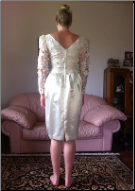 Knee Length Lace and Satin Dress for rent - size 6