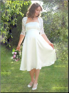 Knee Length Satin Maternity Wedding Dress with Lace Jacket
