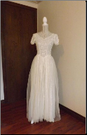 Lace Gown with matching Juliette Cap and Veil in stock size 4