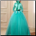Lace Muslim Ball Gown with Long Sleeves and Appliques showing back of gown