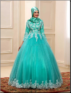 Lace Muslim Ball Gown with Long Sleeves and Appliques