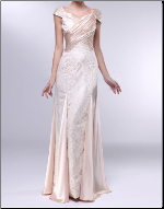 Lace and Satin Sweetheart Sheath Gown with Cap Sleeves
