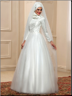 Lace and Tulle High Neckline Muslim Wedding Dress with Hijab