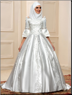 Lace-up Satin Off the Shoulder Ballgown for Muslim Bride