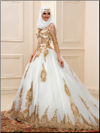 Luxurious Muslim Wedding Gown with Gold Sequins and Long Sleeves