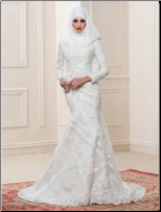 Mermaid Style Arabic Muslim Wedding Gown with Hijab