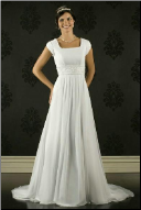 Modest Chiffon over Satin Empire Line Wedding Gown