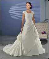 Modest Embroidered Taffeta and Lace Wedding Dress