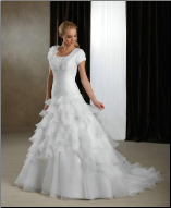 Modest Ruffled Satin and Organza Bridal Gown