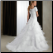 Modest Ruffled Satin and Organza Bridal Gown showing back of gown
